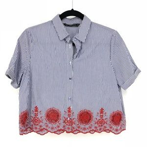 Zara Sz S Button Front Blouse Embroidered Striped